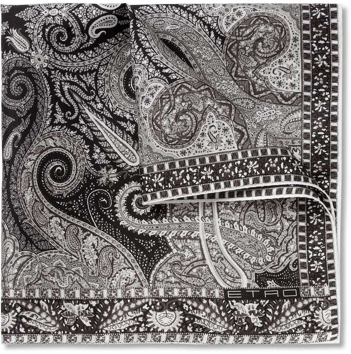 Pocket square black patterned Etro oXrrSe8Sa