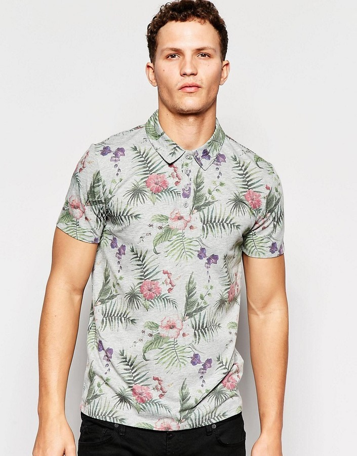 c027db97 ONLY & SONS Polo Shirt With All Over Floral Print, $33 | Asos ...