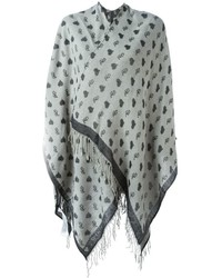 Twin-Set Heart Print Knitted Poncho