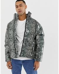 ASOS DESIGN Snake Print Puffer Jacket In Grey