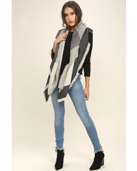 LuLu*s Down The Avenue Grey Print Scarf
