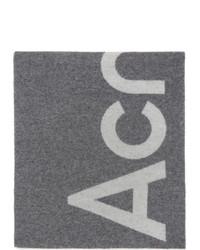Acne Studios Grey And White Logo Scarf