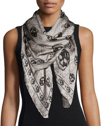 Alexander McQueen Paisley Skull Print Silk Scarf Grayblack