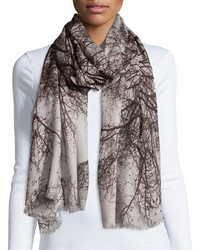 St piece hamadryad tree print scarf gray floral medium 1248880