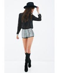 Grey Print Sequin Shorts