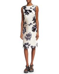 Marc Jacobs Brushstroke Floral Print Sheath Dress Gray