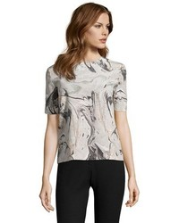 Grey Print Short Sleeve Blouse