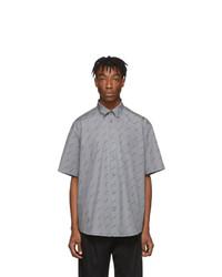 Balenciaga Grey All Over Logo Short Sleeve Shirt