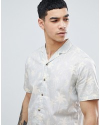 Esprit Regular Fit Shirt With Revere Collar In Palm Print