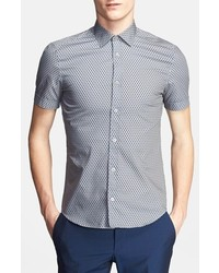Z Zegna Short Sleeve Diamond Print Shirt