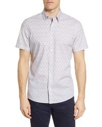 Nordstrom Men's Shop Trim Fit Non Iron Vine Print Short Sleeve Button Up Shirt