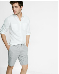 Express Slim Fit 9 Inch Micro Print Stretch Cotton Shorts
