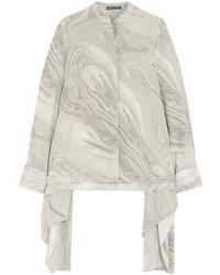 Alexander McQueen Asymmetric Printed Silk Crepe De Chine Blouse Gray