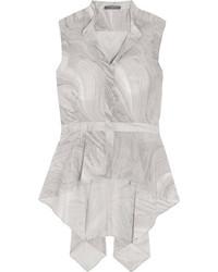 Alexander McQueen Printed Silk Crepe De Chine Top Gray