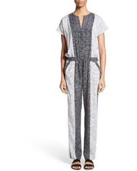St. John Collection Stitch Print Stretch Silk Jumpsuit