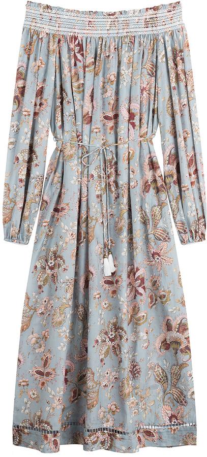 86df74105795 Zimmermann Cotton Silk Midi Dress With Bardot Neckline, $425 ...