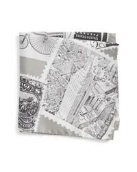 Grey Print Silk Pocket Square