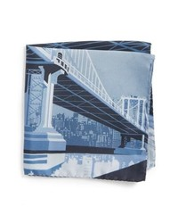 Eton Manhattan Bridge Silk Pocket Square