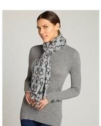 Grey Print Silk Scarf