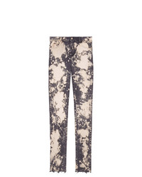 Gucci Embroidery Stretch Tight Jeans