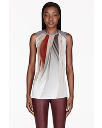 Helmut Lang White Grey Draped Abstract Tank Top