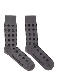 Alexander McQueen Grey And Black Skull Socks