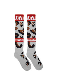 Charles Jeffrey Loverboy Grey And Brown Loverboy Monster Socks