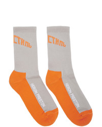 Heron Preston Grey And Orange Logo Socks