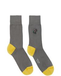 Ps By Paul Smith Grey And Yellow Zebra Socks