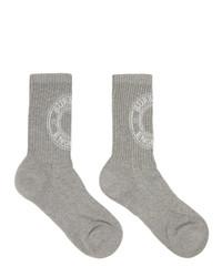Burberry Grey Intarsia Logo Socks