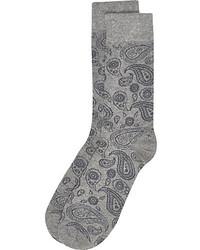 River Island Grey Paisley Print Socks