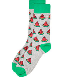 River Island Grey Watermelon Print Socks