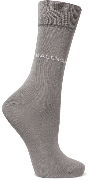 Balenciaga Intarsia Cotton Blend Socks Gray