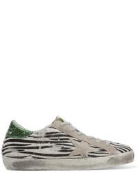 Super star suede trimmed zebra print calf hair sneakers zebra print medium 3700407