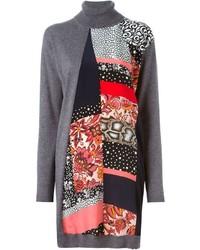 Roberto Cavalli Mixed Print Panel Sweater Dress