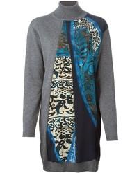 Roberto Cavalli Printed Panel Sweater Dress
