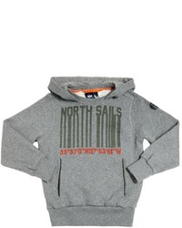 North Sails Hooded Barcode Printed Cotton Sweatshirt