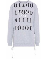 MCQ Alexander Ueen Lace Up Printed French Cotton Terry Sweatshirt