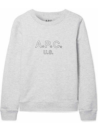 Atelier de production et de cration printed cotton blend terry sweatshirt light gray medium 7012140