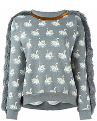 Stella McCartney Duck Print Fringed Sweatshirt