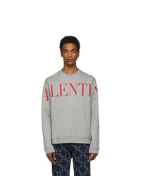 Valentino Grey And Red Logo Sweatshirt