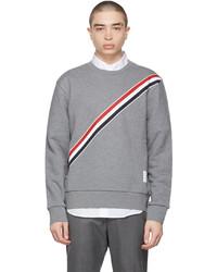 Thom Browne Grey Diagonal Stripe Sweatshirt