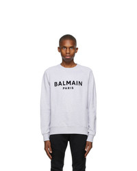 Balmain Grey Flocked Logo Sweatshirt