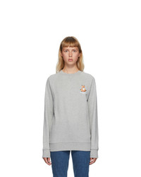 MAISON KITSUNE Grey Lotus Fox Sweatshirt