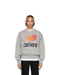 ARIES Grey New Balance Edition Logo Sweatshirt