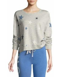 Sundry High Low Printed Crewneck Sweatshirt
