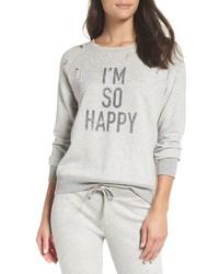 David Lerner Im So Happy Distressed Sweatshirt
