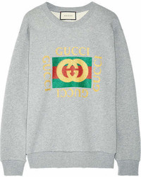 Oversized appliqud printed cotton terry sweatshirt gray medium 7012139