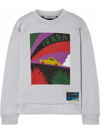 Prada Printed Cotton Blend Jersey Sweatshirt Gray