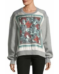 Burberry Te Beast Print Silk Panel Sweatshirt